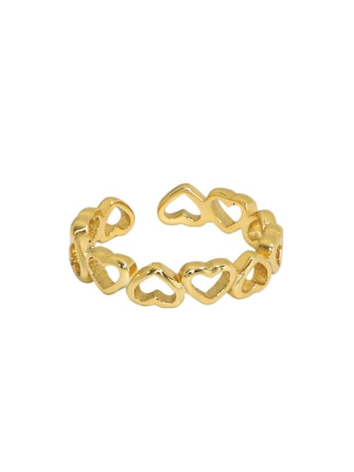 18K gold [11 adjustable] 925 Sterling Silver Hollow Heart Minimalist Band Ring